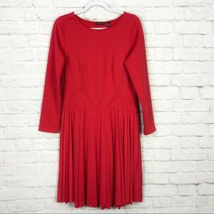 Venus Red Pleated Long Sleeve Fit And Flare Dress
